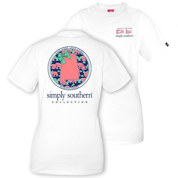 Simply Southern Tees Preppy T-Shirt - Alabama Raised - Color White