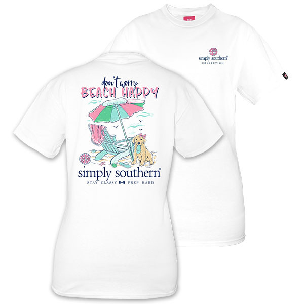 Simply Southern Tees Preppy T-Shirt - Dont Worry Beach Happy - Color White