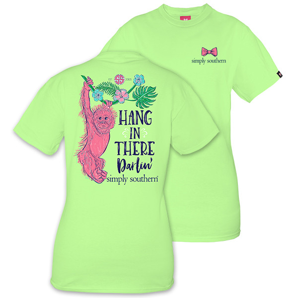 Simply Southern Tees Preppy Monkey T-Shirt - Hang In There Darlin - Color Limeaide