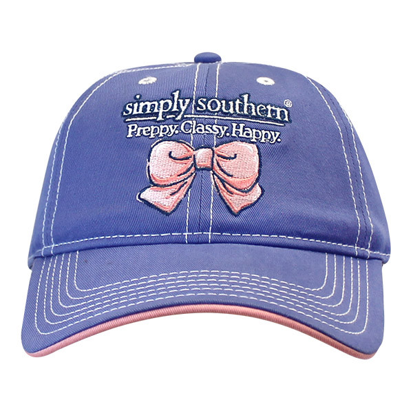 Simply Southern Cap - Bow - Preppy Classy Happy - Hat Color Periwinkle