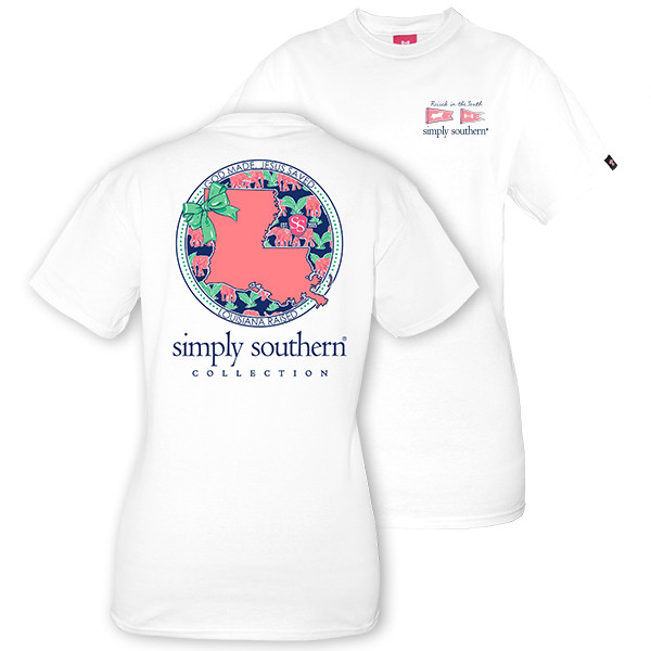 Simply Southern Tees Preppy T-Shirt - Louisiana Raised - Color White