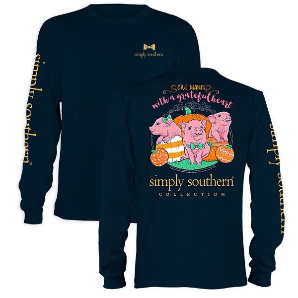 Simply Southern Tees Give Thanks Fall Pumpkin Preppy Pig Long Sleeve T-Shirt