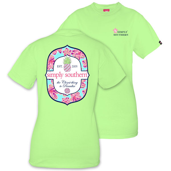 Simply Southern Tees Preppy T-Shirt - Pineapple - Paradise - Color Limeaide
