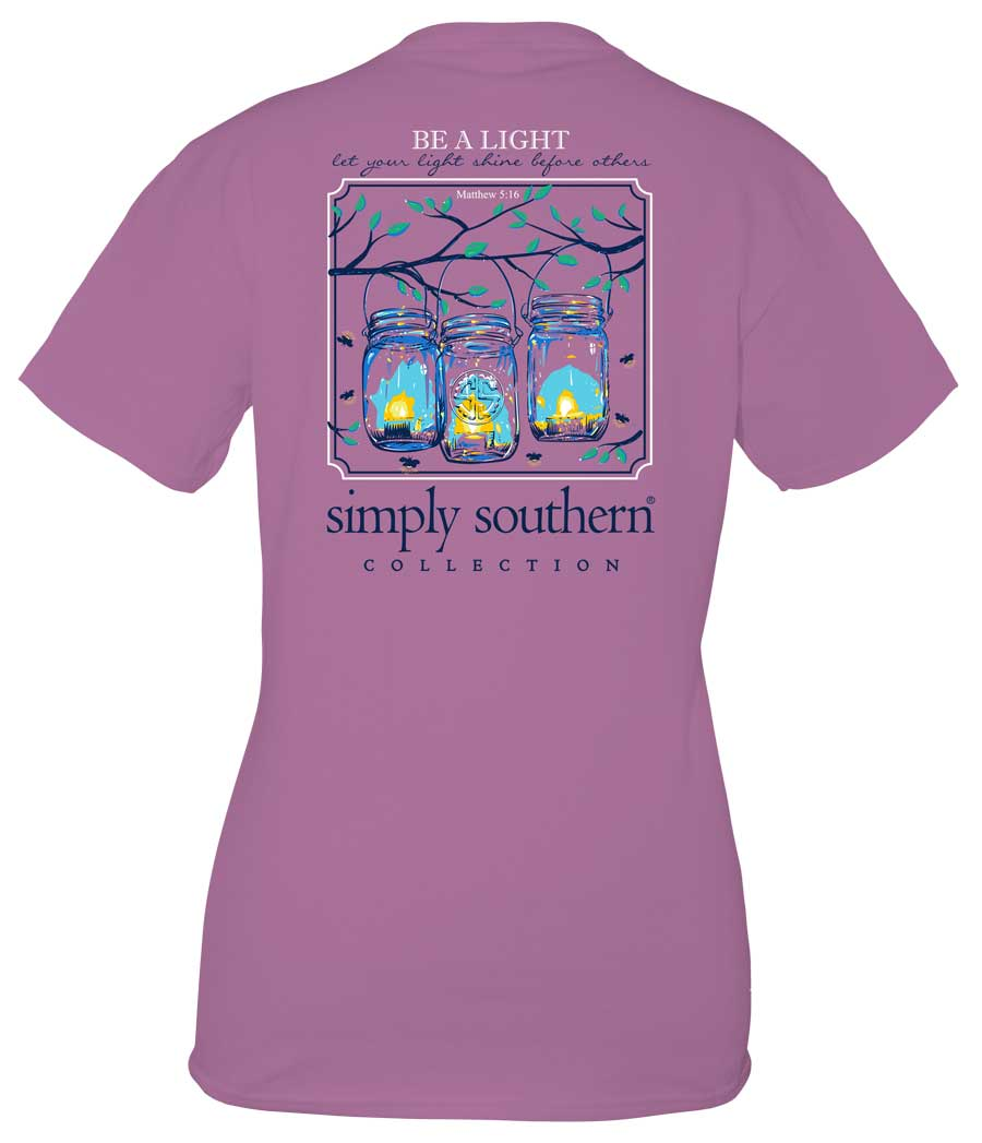 Simply Southern Preppy Collection Be A Light T-Shirt for Women in Eggplant