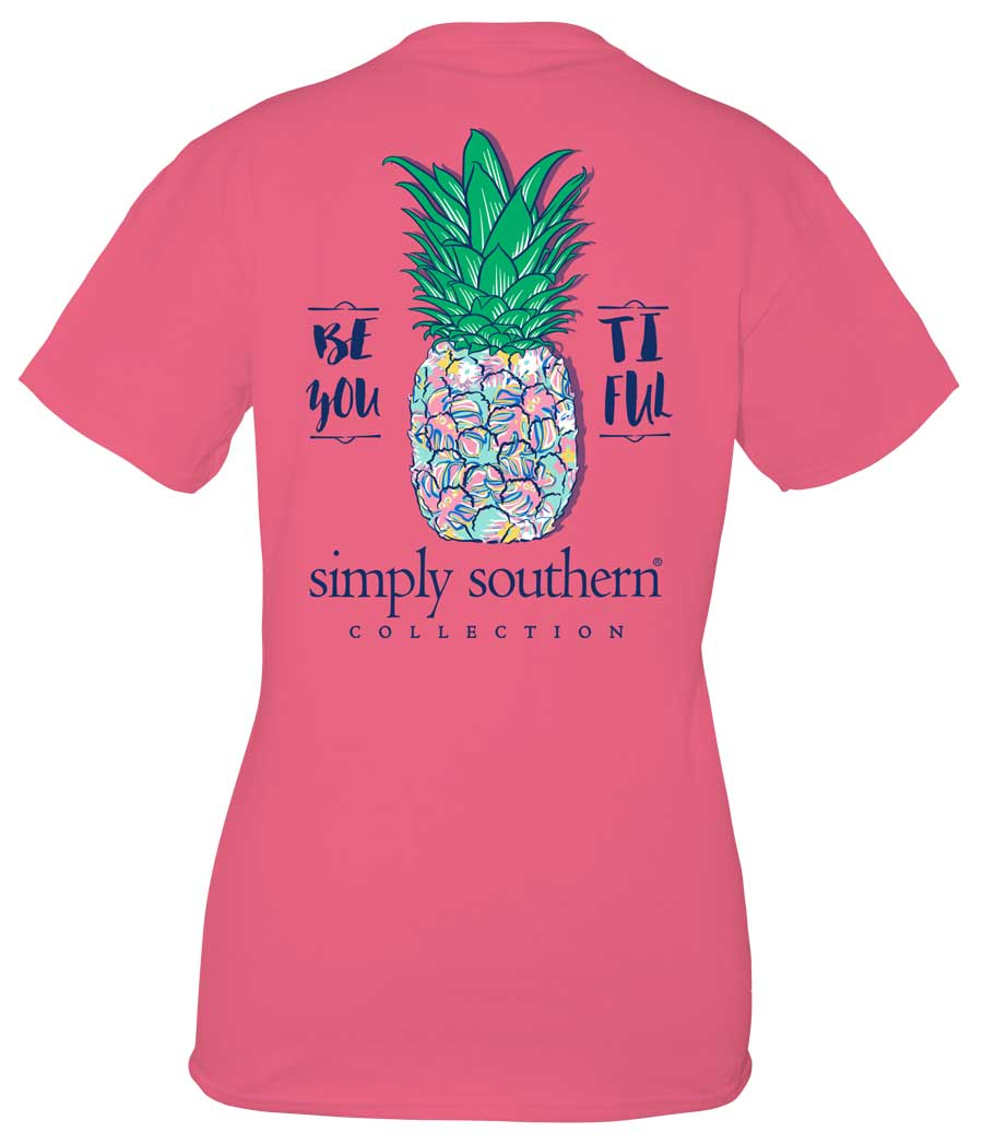 Simply Southern Preppy Collection Beyoutiful T-Shirt for Women in Strawberry