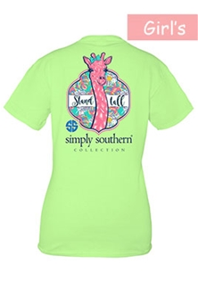 Youth Simply Southern Preppy Collection Stand Tall T-shirt for Girls in Limeade