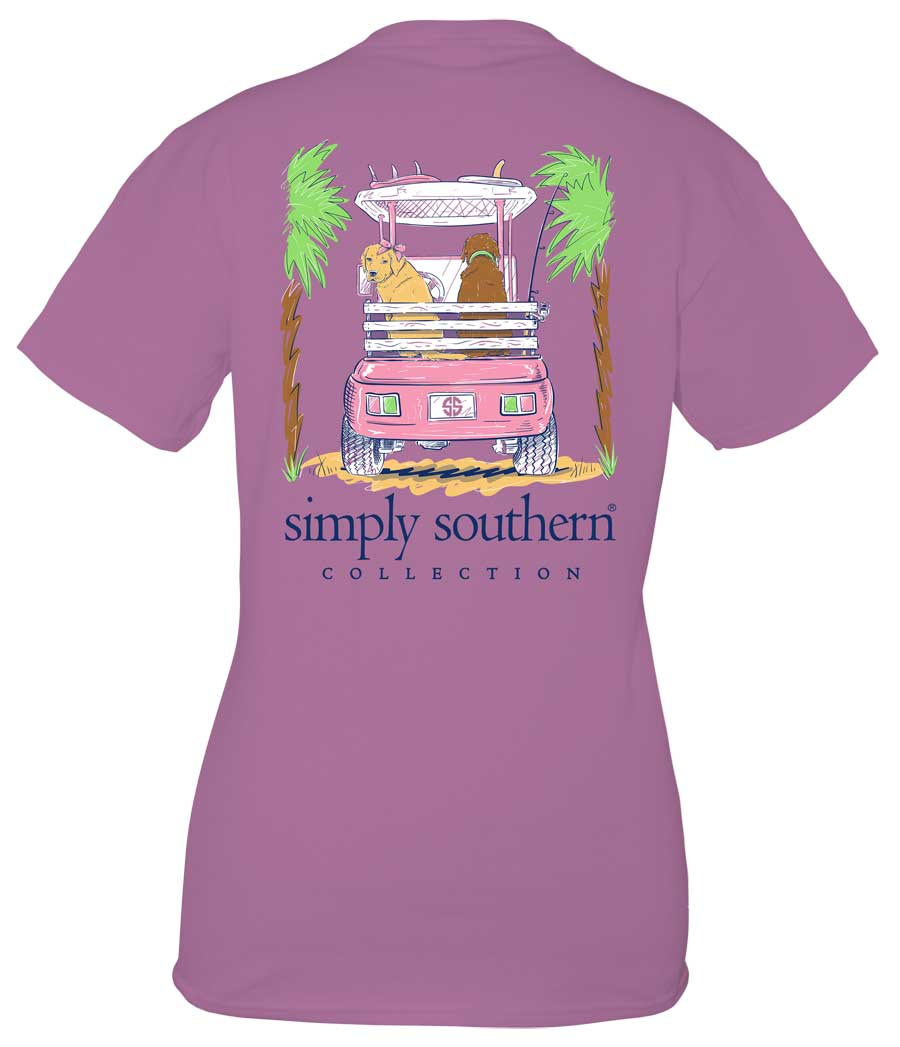 Simply Southern Preppy Collection Golf Cart T-shirt for Women in Eggplant