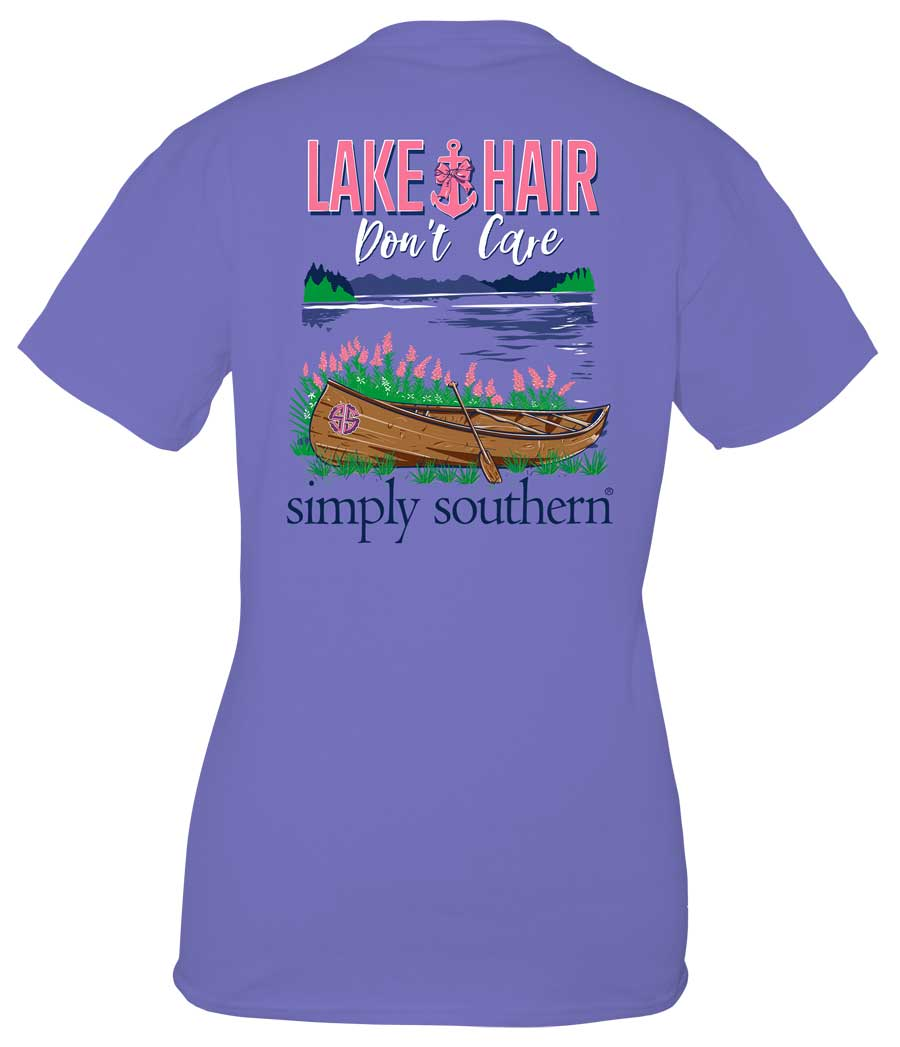 Simply Southern Preppy Collection Lake Hair T-Shirt for Women in Periwinkle
