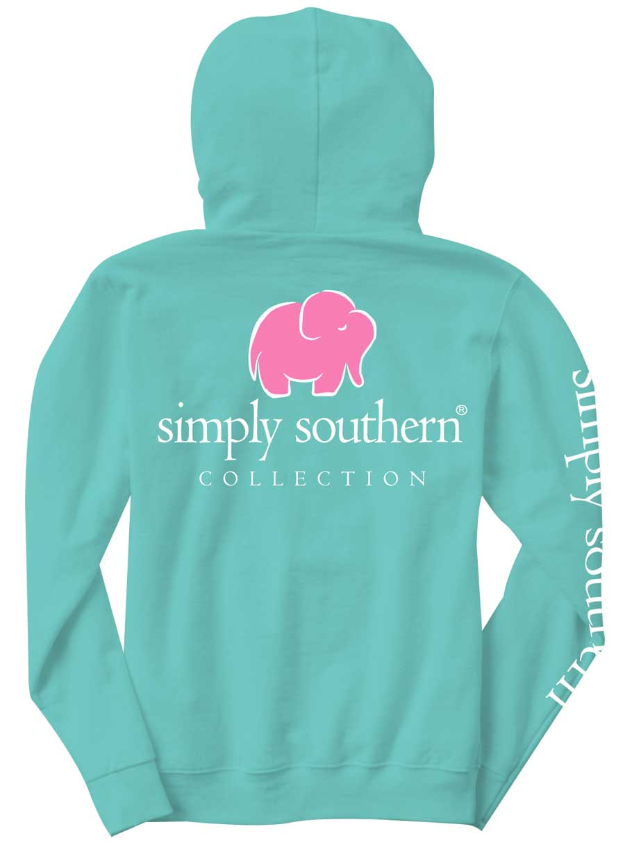 Simply Southern Preppy Collection Elephant Long Sleeve Hoodie for Women in Aruba