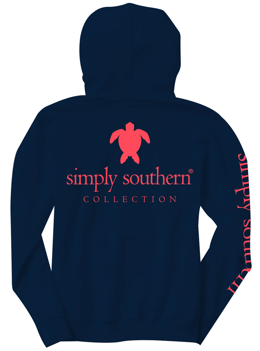 Simply Southern Preppy Collection Turtle Long Sleeve Hoodie for Women in Navy