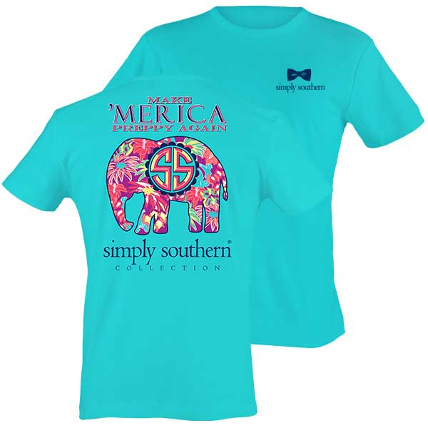 Simply Southern Preppy Collection Make Merica Preppy Again Elephant T-Shirt