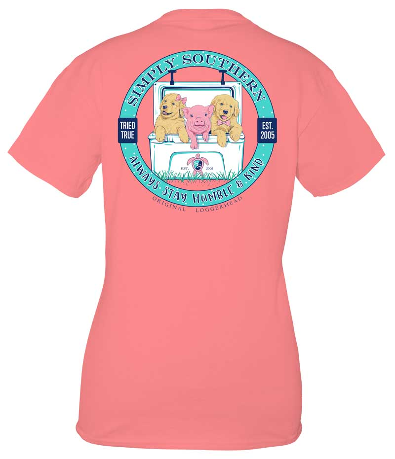 Simply Southern Preppy Collection Humble and Kind T-shirt for Women in Peony