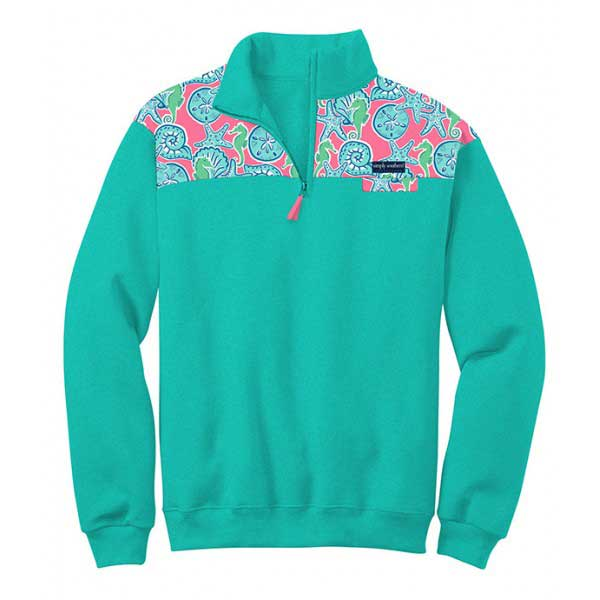 Simply Southern Preppy Collection Seashell Pullover in Cyan