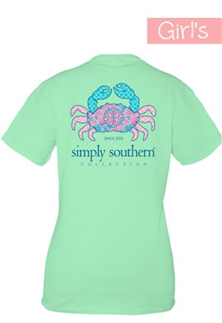 Youth Simply Southern Preppy Collection Crab Logo T-shirt for Girls in Mint Julep