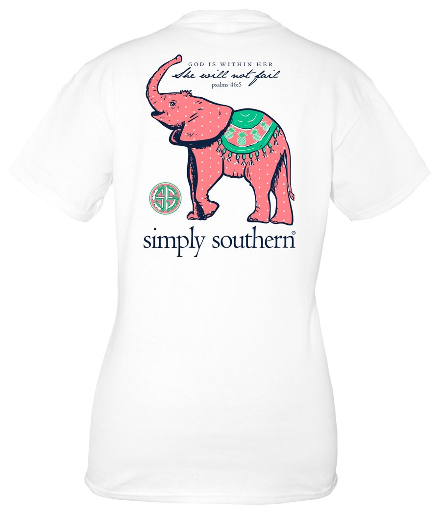 Youth Simply Southern Preppy Collection Pineapple Elephant T-shirt for Girls