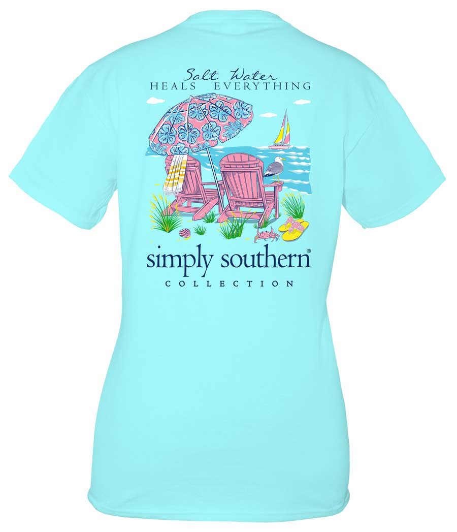 Simply Southern Preppy Collection Salt Water T-shirt for Women in Marine