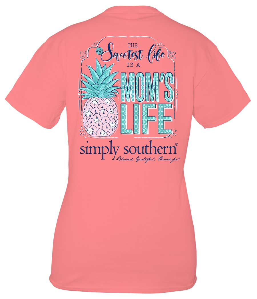Simply Southern Preppy Collection Moms Life T-shirt for Women in Peony