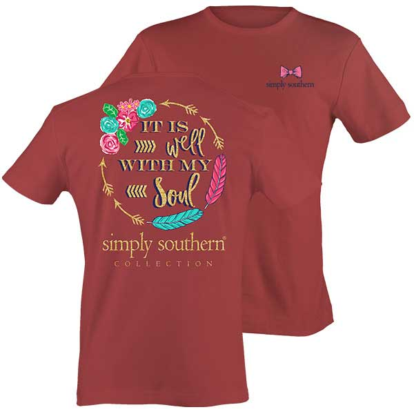 Simply Southern Preppy Collection Feathers Soul Short Sleeve T-Shirt in Brick