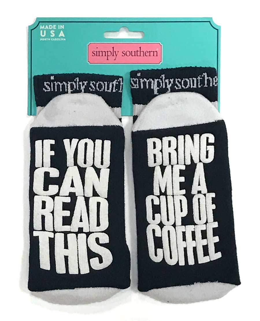 Simply Southern If You Can Read This Bring Me a Cup of Coffee Socks for Women