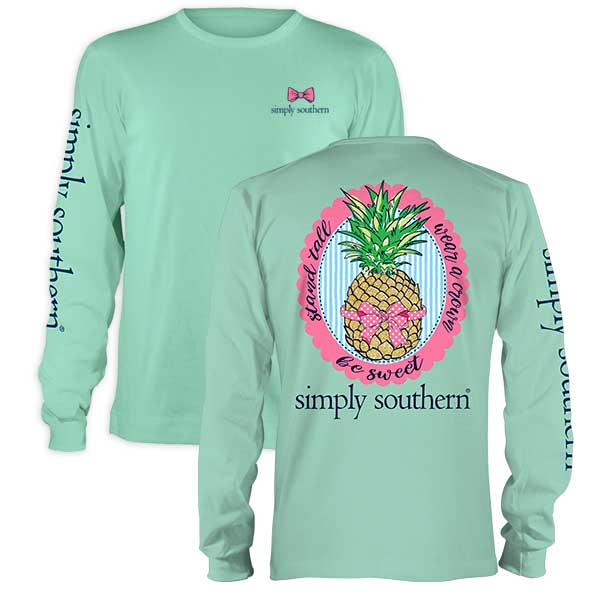 Simply Southern Preppy Collection Pineapple Bow Long Sleeve Tee in Fresh Celedon