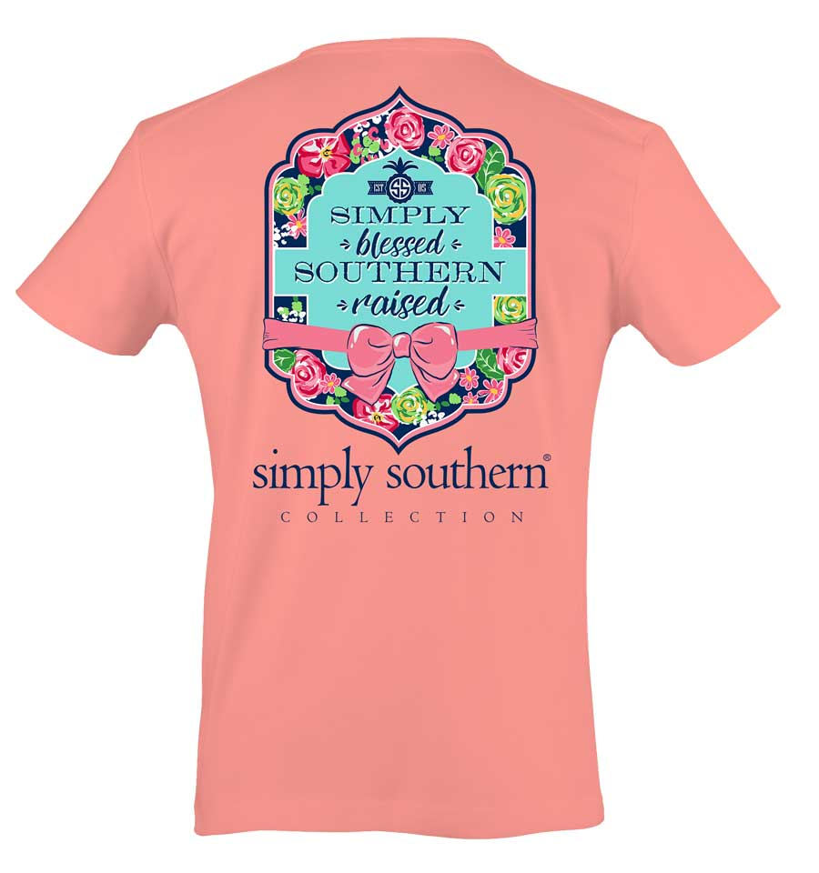 Simply Southern Preppy Collection Simply Blessed T-shirt for Women in Melon Rose