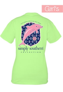 Youth Simply Southern Preppy Collection Preppy Dolphin T-Shirt for Girls in Limeaide