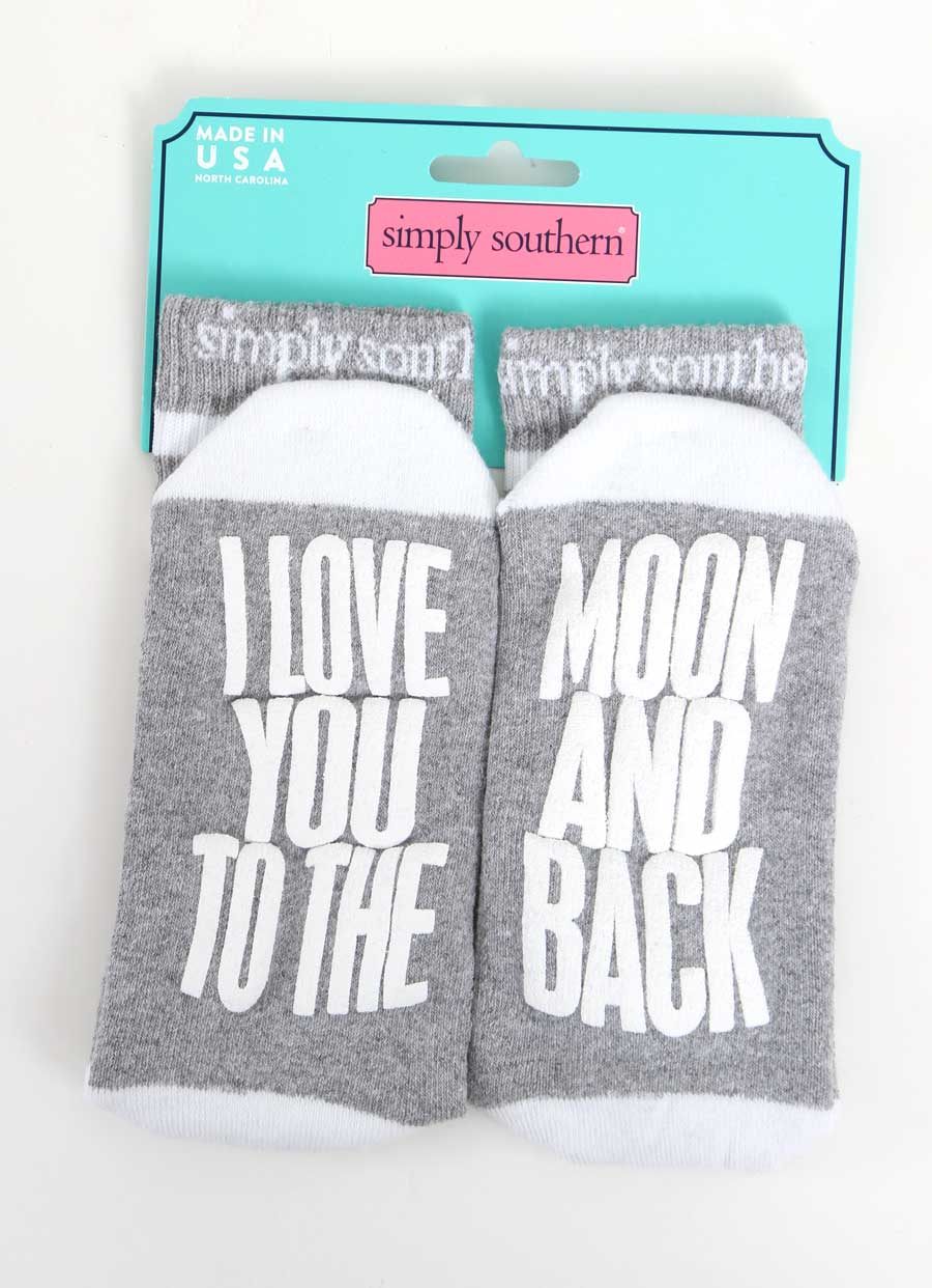 Simply Southern Love You To the Moon and Back Socks for Women