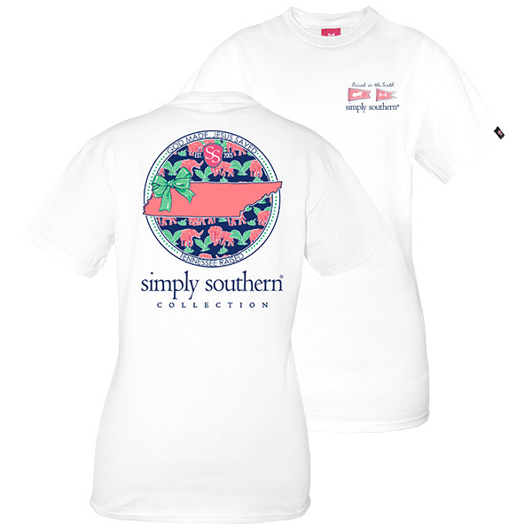Simply Southern Tees Preppy T-Shirt - Tennessee Raised - Color White