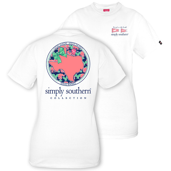 Simply Southern Tees Preppy T-Shirt - Texas Raised - Color White