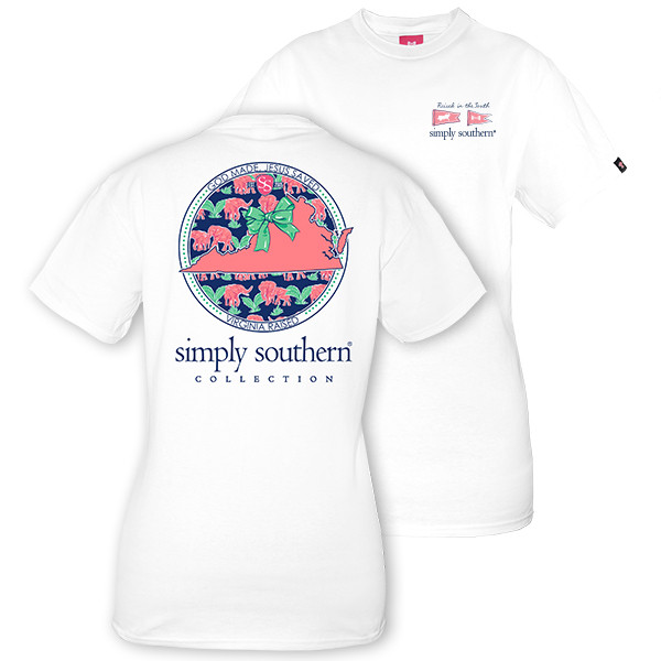Simply Southern Tees Preppy T-Shirt - Virginia Raised - Color White