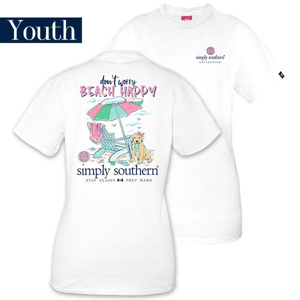 Youth Simply Southern Tees Preppy T-Shirt - Don't Worry Beach Happy - Color White