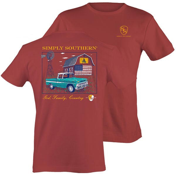 Simply Southern Tees Unisex T-Shirt - Barn Truck - God Family Country - Color Brick