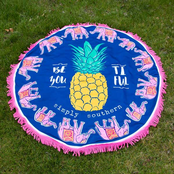 Simply Southern Preppy Collection Pineapple Print Round Beach Towel