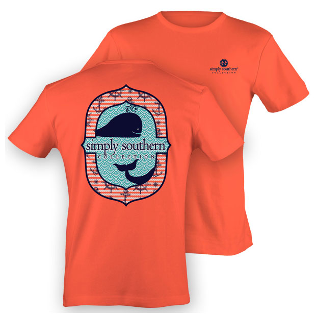 Youth Simply Southern Preppy Collection Whale T-Shirt in Coral for Girls Youth