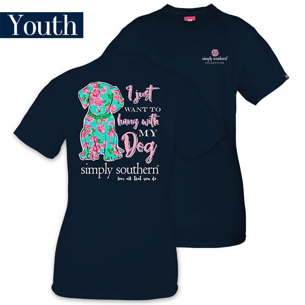 Youth Simply Southern Tees Preppy Dog T-Shirt - I Just Want To Hang With My Dog - Color Navy