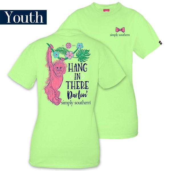 Youth Simply Southern Tees Preppy Monkey T-Shirt - Hang In There Darlin - Color Limeaide