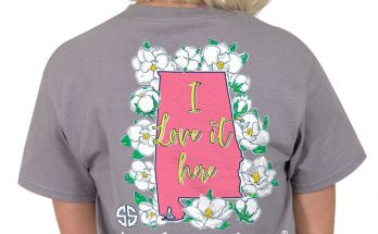 Simply Southern Preppy Collection Alabama I Love it Here T-shirt for Women in Steel PREPPYAL-STEEL