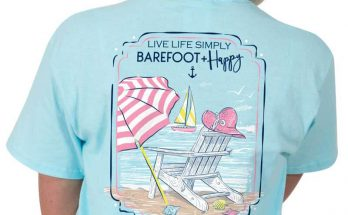Simply Southern Preppy Collection Tee Barefoot and Happy T-shirt for Women in Marine PREPPYBAREFOOT-MARINE