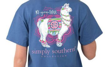 Simply Southern Preppy Collection Tees Be You Tiful Llama Short Sleeve T-shirt for Women in Moonrise