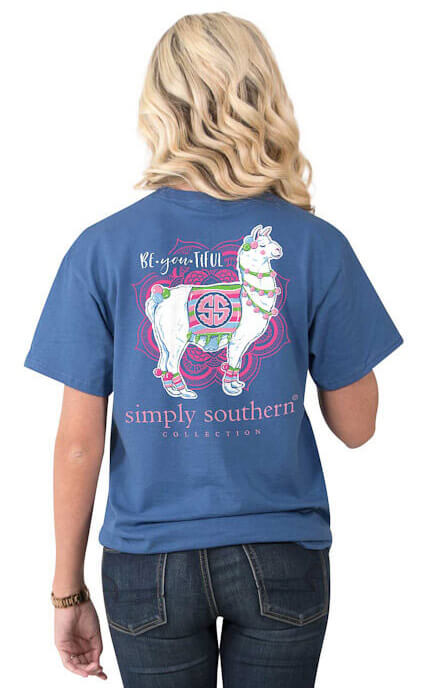 8c67767f Simply Southern Be You Tiful Llama Short Sleeve T-shirt Tee For Women In  Moonrise