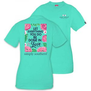 Simply Southern Preppy Tees Done In Love T-shirts For Women In Aqua