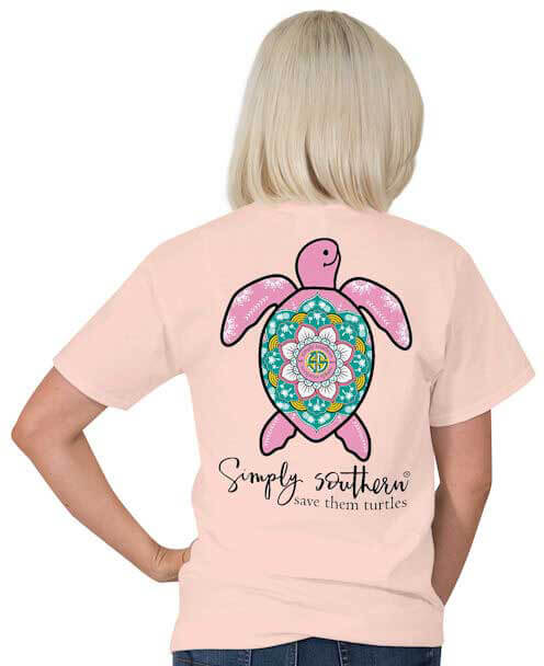 61328874e Simply Southern Save The Turtle T-shirt Preppy Tee for Women in Rose