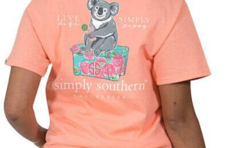 Simply Southern Collection Preppy Koala T-Shirt For Women In A Peachy Tee PREPPYKOALA-PEACHY