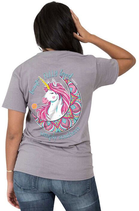 7972ee529 Simply Southern Beautifully Loved Unicorn T-shirt Tee for Women in Steel