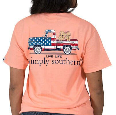 Simply Southern Preppy Tees Flag Truck And Dogs T-Shirts For Women