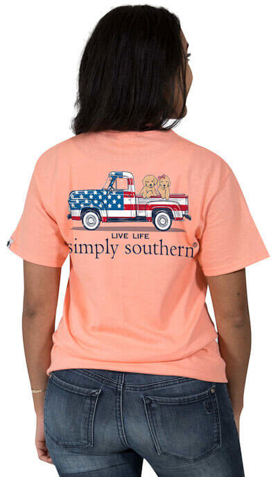 dad9d402cc2 Simply Southern Preppy Tees Flag Truck And Dogs T-Shirts For Women