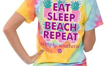 Simply Southern Preppy Tees Eat Sleep Beach Repeat Tie Dye Pocket T-shirt