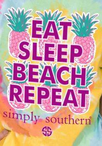 Simply Southern Preppy Tees Eat Sleep Beach Repeat Tie Dye Pocket T-shirt