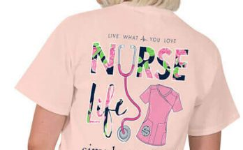 Simply Southern Preppy Collection Tee Nurse Life T-shirt For Women In Rose