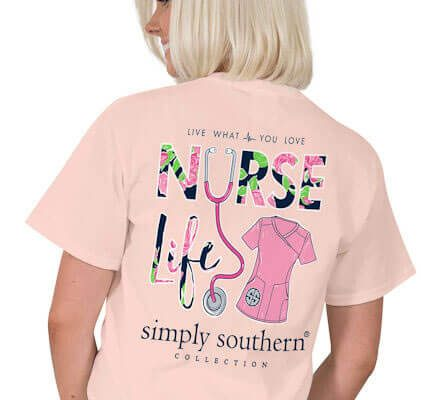 48f3e32a37f0e Simply Southern Preppy Collection Tee Nurse Life T-shirt For Women In Rose